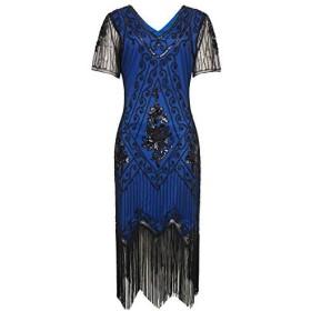 ArtiDeco - ドレス - カクテル - 半袖 - 女性ブルー/ブラックS(ウエスト76/82 cm)