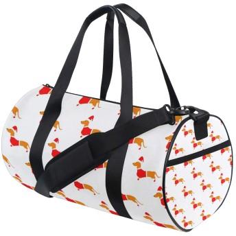 スポーツバッグ ボストンバッグ 犬 赤い かわいい ジム 運動 収納 大容量 靴収納 多機能 ショルダーバッグ ファスナー ポケット付き 旅行 2WAY