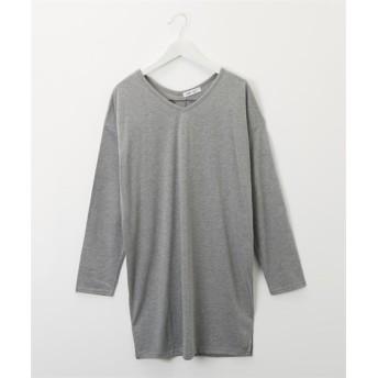 洗濯機OK♪ 両Vネック後ろタックチュニックTシャツ (Tシャツ・カットソー)(レディース)T-shirts, T恤