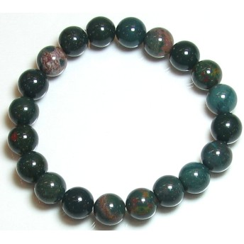 緑に赤 ブラッドストーン 10mm ブレスレット (内径16.5cm 女性:M/男性:S)