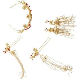 P Prettyia 中華風 ブライダル ジュエリーセット ヘアピン イヤリング かんざし 葉 花 モチーフ 4点セット