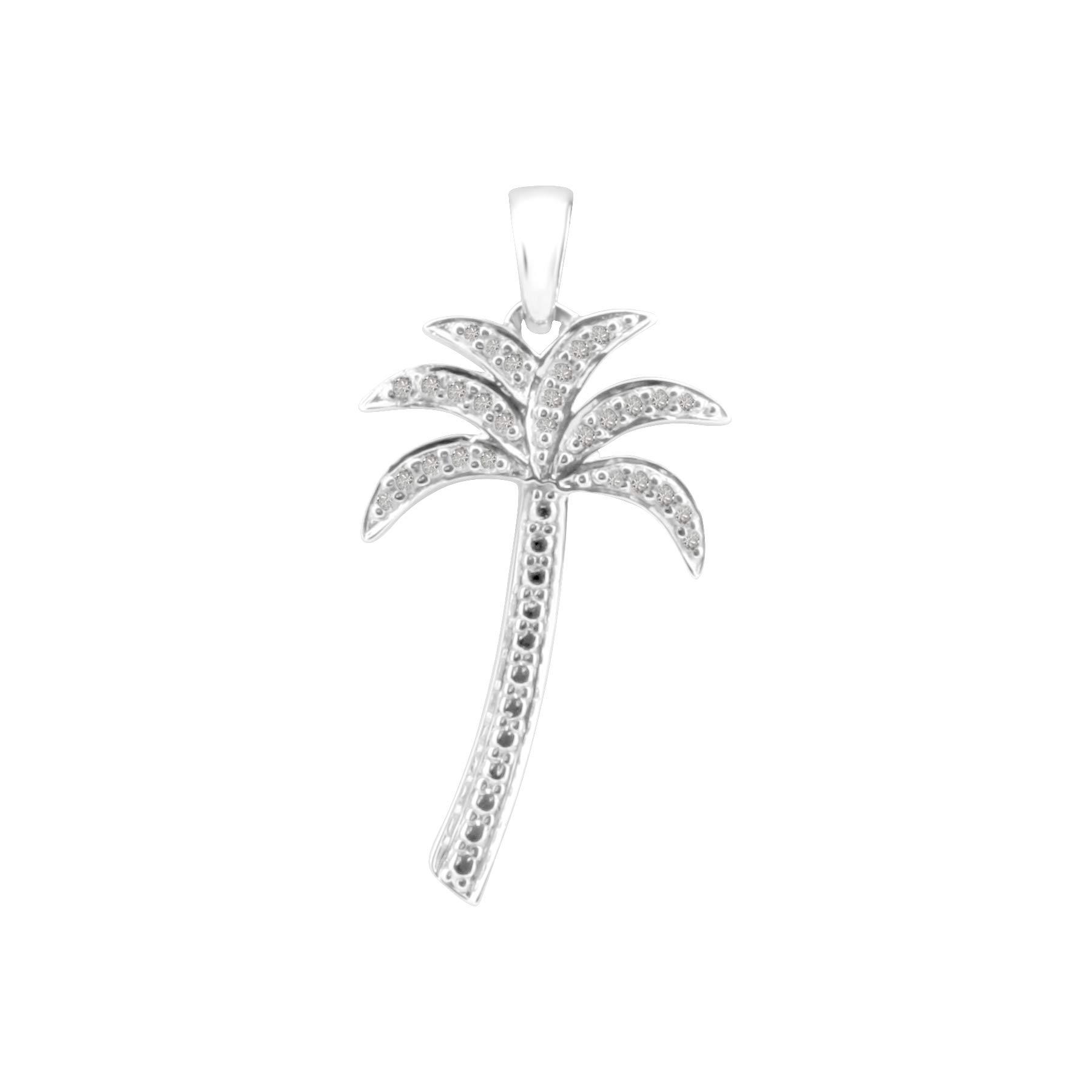 White Diamond Pendant Goldenstar 0.10Ct 925 Sterling Silver Palm Tree Pendant