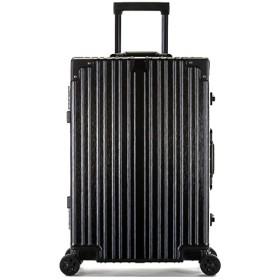 荷物、傷防止アルミフレームスーツケース、ABS + PCトロリーケース、万能荷物、搭乗バッグ、軽量スーツケース-black-S
