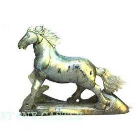【石流通センター】☆高級一点物☆【彫刻置物】馬 ラブラドライト No.95 天然石 パワーストーン