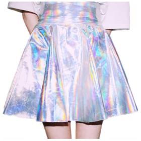 女性ハイウエストナイトクラブスウィングミニスカートショートネオンシックなファッションスリムフィットハイウエストシャイニングスカート (Color : Silver, Size : L)