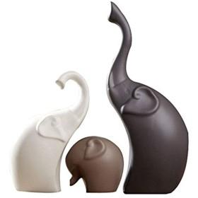 3本/セット陶器エレファントの置物、動物の装飾品手工芸品ミニチュアギフトホームウェディングデコレーション工芸品