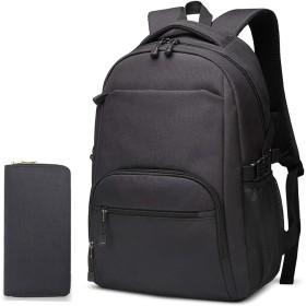 大容量の旅行バックパック、男性用と女性用のカジュアルなビジネスバッグ、コンピューターバッグ、中学生のバッグ (インクブラック)