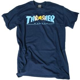 THRASHER Tシャツ スラッシャー ARGENTINA T-SHIRT アルゼンチン 半袖Tシャツ インポート (ネイビーブルー, Mサイズ)