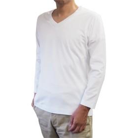 (イチボウ)ICHIBO WAITO 紳士 スッキリシルエット Vネック ロングTシャツ 綿100% 日本製 (L, ホワイト)