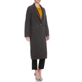 【60%OFF】ARISTA ストライプ ノッチドカラー コート グレー xs