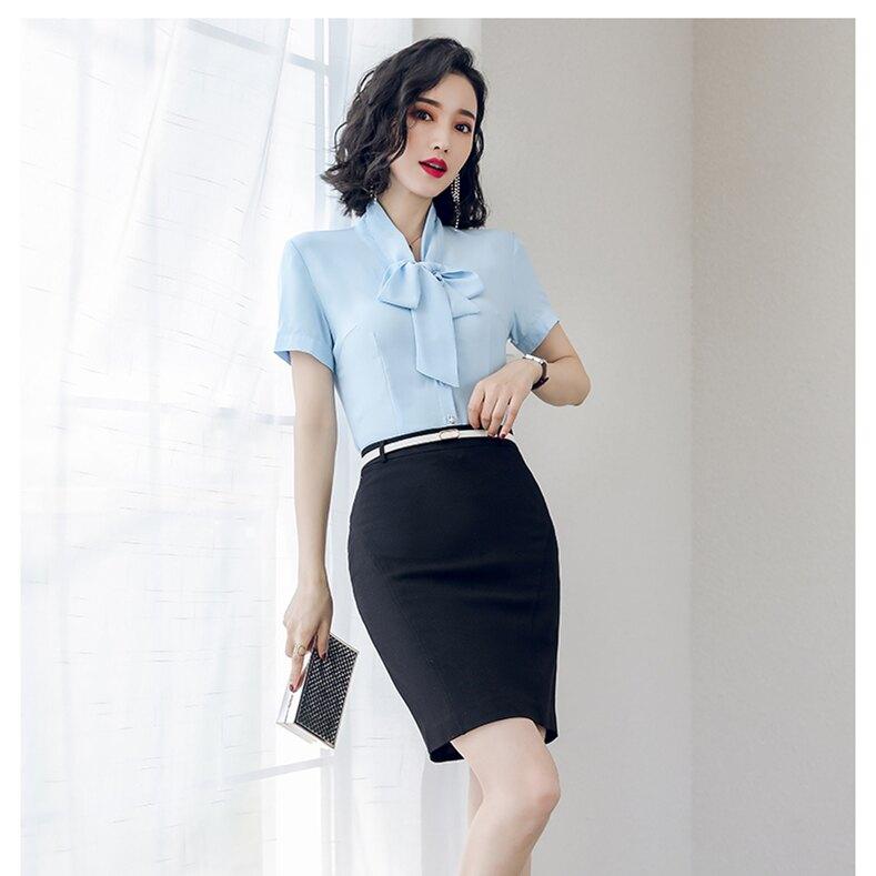 2019春夏新款上市 全家免運 小圓領質感短袖襯衫 白色 藍色 窄裙 制服 團體服。人氣店家WK FASHION的OL專區、襯衫、短袖有最棒的商品。快到日本NO.1的Rakuten樂天市場的安全環境中
