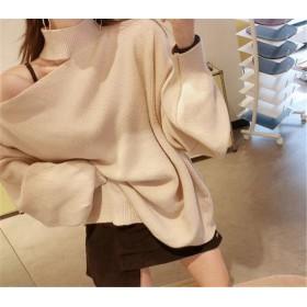 高レビュー多数 超特価中 韓国ファッション CHIC気質 大人気 おしゃれな トレンド 新品 タートルネック オフショルダー スリム セーター ニットトップス