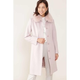 (NATURAL BEAUTY/ナチュラル ビューティー)◆カシミア混フォックスファー襟ステンカラーコート/レディース ピンク
