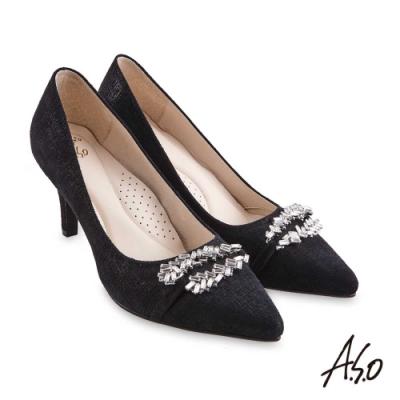 A.S.O 阿瘦 璀璨宴會 健步通勤質感軟羊絨高跟鞋 黑 10027000689-99