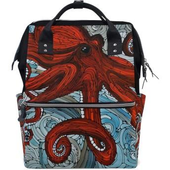 赤の抽象的なタコおむつ バッグ バックパック ママバッグ カジュアル 軽量 大容量 トラベル マミー用
