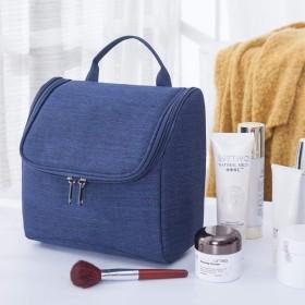 洗面バッグ、袋-飯粒海外旅行化粧バッグ多機能ホテルの浴室掛式洗面カバンの大容量の水かけ防止バッグです。, ネイビー