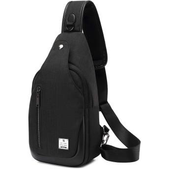 AYUQIバッグボディショルダーバッグチェストバッグ軽量バッグ大容量シングルショルダー防水疎水性素材メッセンジャーバッグバックパック (灰色, バックパック) (黒)