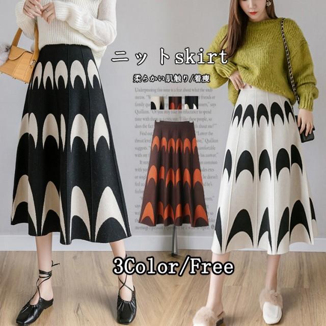2019秋冬の新型韓国版のつなぎ合わせパターンの高腰のニットの半身のスカートの女性の中で長い項の百合のプリーツのスカート