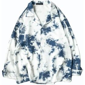 Angelo シャツ アロハシャツ 長袖シャツ 総柄シャツ メンズシャツ トップス ゆったり カジュアル メンズファッショ シンプル オシャレ ストリート 春秋 (XL, ブルー)