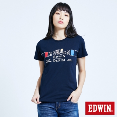 EDWIN 塗鴉系列 怪獸LOGO短袖T恤-女-丈青