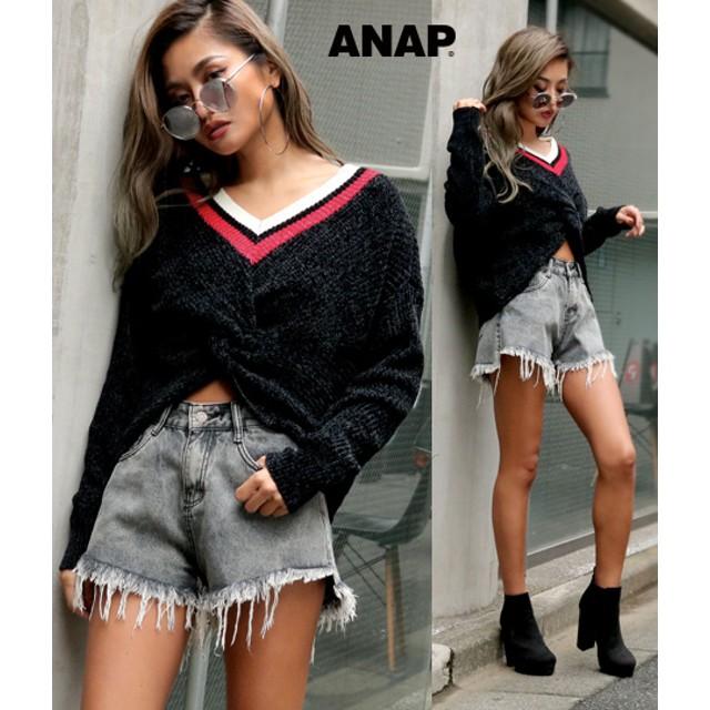 ANAP(アナップ)/フロントツイストベロアモールニット