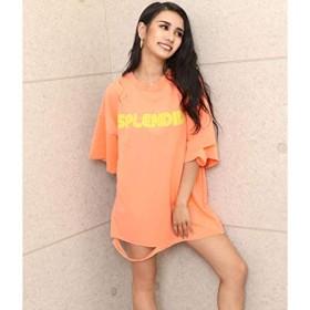 アナップ(ANAP) フクレプリントダメージオーバーサイズTシャツ【オレンジ/F】