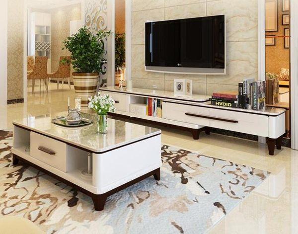 大理石茶幾電視櫃茶幾組合套裝現代簡約客廳伸縮北歐實木電視機櫃