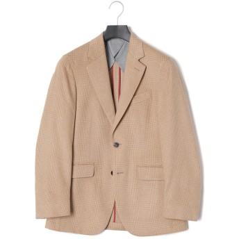 【50%OFF】キャメル グレンチェック ノッチドラペル テーラードジャケット キャメル 36