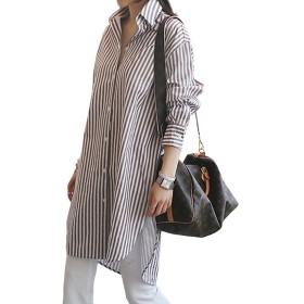 (アイノウ)AINOR シャツ ブラウス レディース 事務服 ストライプ スリット ロング シャツワンピース レギュラーカラーシャツ 大きいサイズ ゆったり 長袖 オフィス 通勤 OL カジュアル