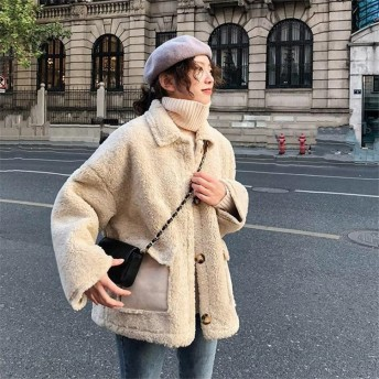 満足度99%↑【秋先行即納SALE 】韓国ファッション おしゃれな 大人気 子羊の毛 秋冬物 早い者勝ち カジュアル ゆったりする 厚手 ムートンコート