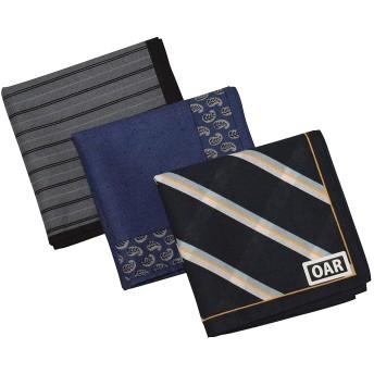 [オール] ハンカチ 日本製 メンズ 綿100% 大判 47cm 3枚 5枚 セット ギフト箱入り (3枚セット(ギフトボックスなし))