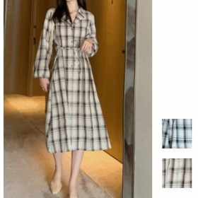 韓国 ファッション レディース ワンピース 秋 冬 春 カジュアル naloG522 チェック フレア Aライン リゾートワンピース韓国 オルチャン