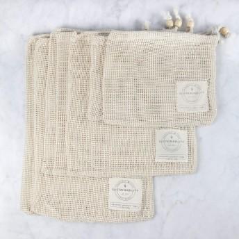 Sandstone & Sage 再利用可能なプロデュースバッグ オーガニックコットン メッシュ ゼロ廃棄物 生分解性 食料品袋 優れた品質 二重縫い 7個セット Sサイズ Mサイズ