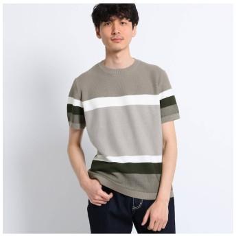 【タケオキクチ/TAKEO KIKUCHI】 パネルボーダーニットTシャツ