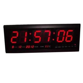 デジタルカレンダーLED時計、電子時計/サイレントウォールクロック、赤と青 (Size : 赤)