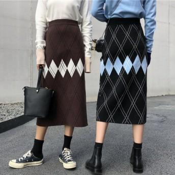 FOFU-長裙菱型格紋高腰長裙針織半身裙【08G-I0488】