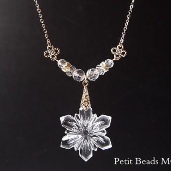 パーティーにも♪願いが叶う?宝石質水晶&ヴィンテージスワロフスキー#6743雪の結晶 ネックレス