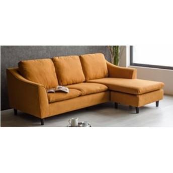 5台限定 特価 シンプルに オシャレに 3WAY カウチソファー オレンジ色 ファブリック 硬めの座り心地