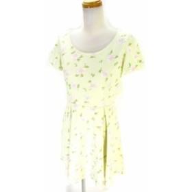 【中古】ディップドロップス Dip Drops ワンピース 半袖 膝丈 ミドル 花柄 黄緑 2 レディース