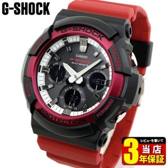 G-SHOCK Gショック CASIO カシオ タフソーラー 電波 GAW-100RB-1A アナログ デジタル メンズ 腕時計 海外モデル 黒 ブラック 白 ホワイト 赤 レッド ウレタン