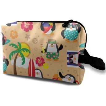 ビーチのペンギン 化粧バッグ 収納袋 女大容量 化粧品クラッチバッグ 収納 軽量 ウィンドジップ