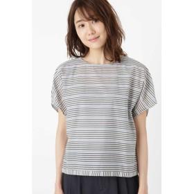 【ヒューマンウーマン/HUMAN WOMAN】 ◆≪Japan couture≫+ファインNCボーダーブラウス
