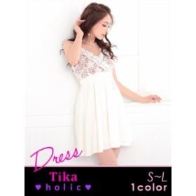 【Tika ティカ】ホリック カシュクールレースフレアAラインミニドレス[S/M][ ベージュx白]