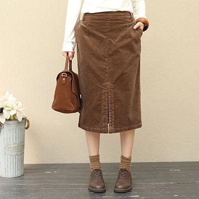 純棉半身裙 復古純色長裙 OL風窄裙