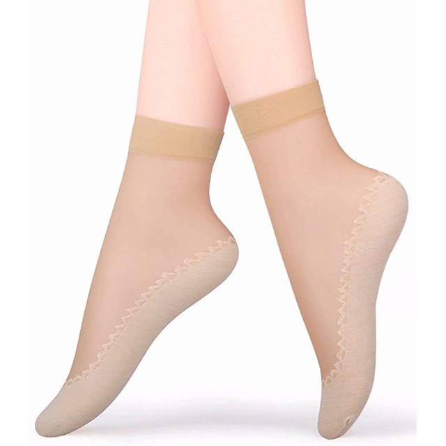 Agracelady ソックス レディース シースルーソックス ショートストッキング 靴下 綿の足の裏 滑り止め 伸縮性 つま先補強 くるぶし丈 抗菌防臭 吸汗速乾 ベージュ 肉色 5足組