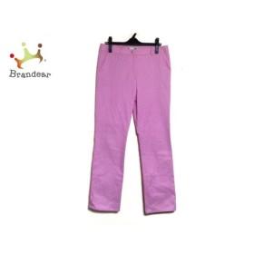 レオナール LEONARD パンツ サイズ73 レディース ピンク×白 SPORT/ストライプ/刺繍 新着 20190913