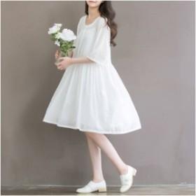シフォンワンピース ドレス ワンピース ミディアム丈ワンピース 大人 通勤 結婚式 白ホワイト 春 レディースワンピース 2019020520