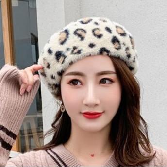 レオパードベレー帽 レディース 秋冬 ヒョウ柄 帽子 おしゃれ 被り心地 女性用 たためる ダウン ハット
