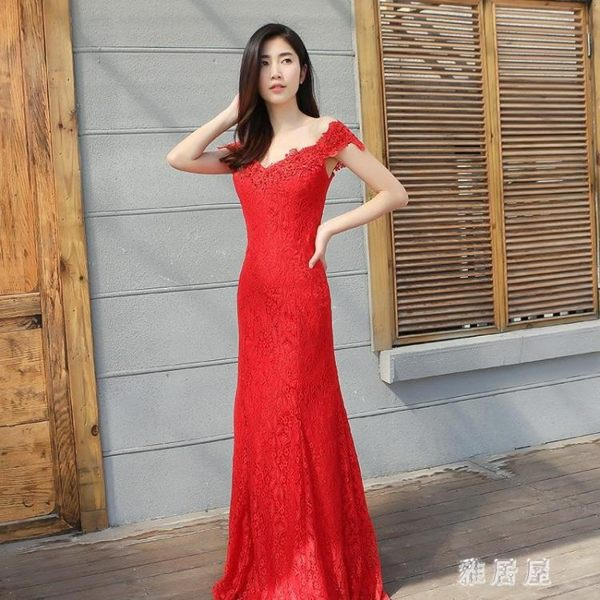 長禮服 魚尾敬酒服新娘結婚新款一字肩長款紅色訂婚回門晚禮服女顯瘦 LN7005 【雅居屋】