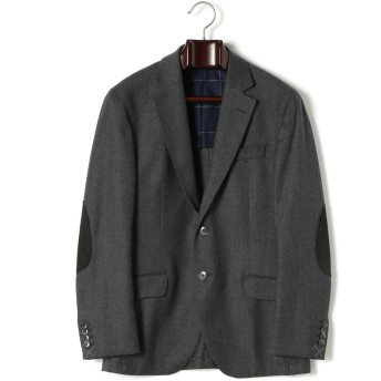 【71%OFF】フランネル エルボーパッチ テーラードジャケット グレー 38